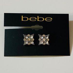 BeBe Flower Silver & Crystal Stud Earrings